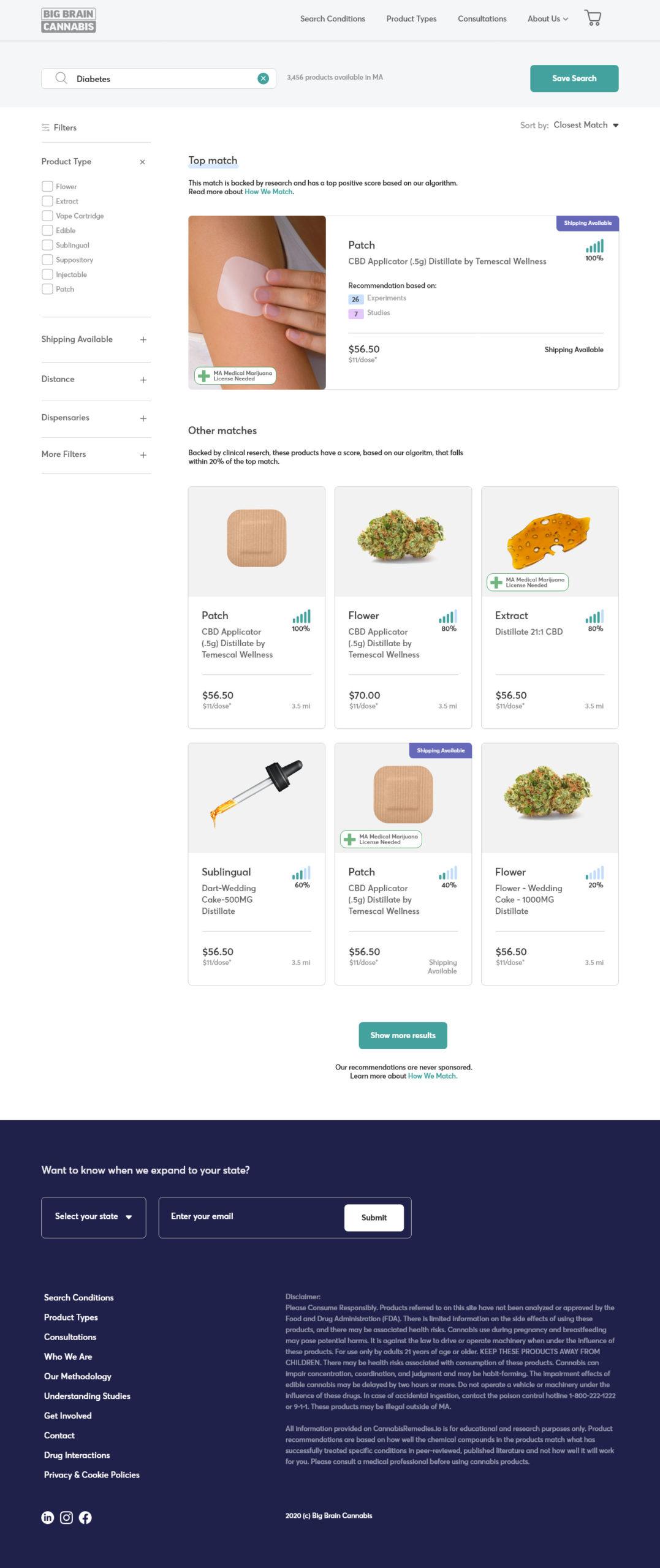 Big Brain Cannabis search results